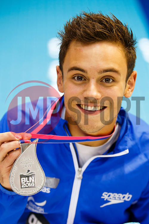 Tom Daley of Great Britain poses with his medal after winning the Silver in the Mens 10m Platform Final - Photo mandatory by-line: Rogan Thomson/JMP - 07966 386802 - 23/08/2014 - SPORT - DIVING - Berlin, Germany - SSE im Europa-Sportpark - 32nd LEN European Swimming Championships 2014 - Day 11.
