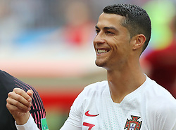 MOSCOW, June 20, 2018  Cristiano Ronaldo of Portugal reacts prior to a Group B match between Portugal and Morocco at the 2018 FIFA World Cup in Moscow, Russia, June 20, 2018. (Credit Image: © Xu Zijian/Xinhua via ZUMA Wire)