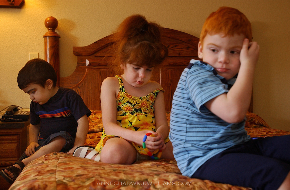 The Bennett children of Ione, l-r Tommy, 3, Ciara, 7, and Tommy, 5, have a rare genetic disease named Sanfilippo syndrome. Only Tommy was eligible for a donor cell transplant to help fight the disease. The family will be returning to North Carolina soon for Tommy's third attempt at the donor cell transplant. The first two attempts were unsuccessful. June 19, 2003.