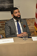 "12/3/19 Jackson,MS. Chokwe Antar Lumumba, Mayor of Jackson speaks as  former New York City Mayor Bloomberg now a Presidential candidate, listens to the Mayor speak about his plans for the city and criminal justice reform. Democratic Presidential candidate and former New York City Mayor Michael Bloomberg visits with Mayor  Chokwe Antar Lumumba at the Smith Robertson Museum. Bloomberg and the Mayor of Jackson where their to have a discussion on criminal justice reform with community leaders. Bloomberg spoke with the press after his meeting with community leaders and said he made a mistake with ""stop and frisk"" policy in New York City and has learned from his mistakes. Photo ©Suzi Altman"