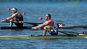 "Rio de Janeiro, BRAZIL,   CRO M1X. Damir MARTIN, and  NZL M1X, Mahe DRYSDALE, final, Men's Single Sculls, 2016 Olympic Rowing Regatta. Lagoa Stadium,<br /> Copacabana,  ""Olympic Summer Games""<br /> Rodrigo de Freitas Lagoon, Lagoa. Local Time 10:38:25  Saturday  13/08/2016<br /> [Mandatory Credit; Peter SPURRIER/Intersport Images]"