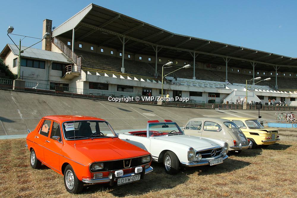 Renault R12, Mercedes-Benz W113 230 SL, Zastava 750, NSU 1000C (from front to back), Velodrom Millenaris, 2011, Budapest, Hungary