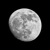 Waxing Gibbous Moon. Image taken with a Nikon 1 V1 camera, FT1 adapter, and 600 mm f/4 VR lens (ISO 100, 600 mm, f/8, 1/100 sec). With this sensor, the field of view (FOV) is equivalent to a 1620 mm lens on a 35 mm DSLR.
