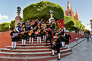 The University of Guanajuato Estudiantinas Callejoneadas music group serenade pedestrians in the Plaza Allende March 23, 2018 in San Miguel de Allende, Mexico. The group plays traditional Spanish music while strolling the streets in the style ofrenaissance balladeers.