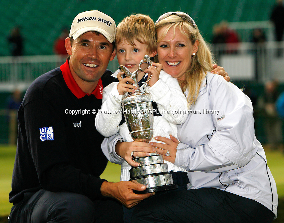 Padraig HARRINGTON (IRE) during the play off at the British Open Championship, 22nd July 2007. With his wife Caroline and son Paddy with the trophy.