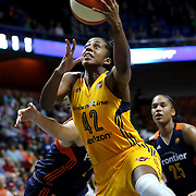UNCASVILLE, CONNECTICUT- JUNE 5:   Shenise Johnson #42 of the Indiana Fever drives to the basket during the Indiana Fever Vs Connecticut Sun, WNBA regular season game at Mohegan Sun Arena on June 3, 2016 in Uncasville, Connecticut. (Photo by Tim Clayton/Corbis via Getty Images)