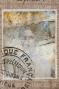silverized portrait ID photo from a French passport document 1928