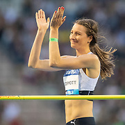 BRUSSELS, BELGIUM:  September 3:   Nicola McDermott of Australia applauds her clearance during the high jump competition at the Wanda Diamond League 2021 Memorial Van Damme Athletics competition at King Baudouin Stadium on September 3, 2021 in  Brussels, Belgium. (Photo by Tim Clayton/Corbis via Getty Images)