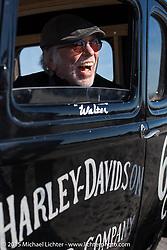 Harley-Davidson's Willie G Davidson in a Harley-Davidson hot rod at the Race of Gentlemen. Wildwood, NJ, USA. October 11, 2015.  Photography ©2015 Michael Lichter.