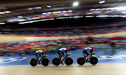 File photo dated 04-08-2012 of Great Britain's Dani King, Joanna Rowsell and Laura Trott on their way to winning gold in the Women's Team Pursuit Final