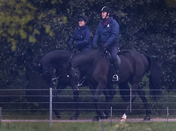 © Licensed to London News Pictures. 28/04/2021. Windsor, UK. Prince Andrew smiles as he rides his horse in the grounds of Windsor Castle. It is being reported that the Duke of York started a business with a former Coutts banker who had to resign over allegations of sexual harassment. Photo credit: Peter Macdiarmid/LNP