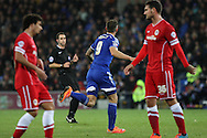 Daryl Murphy of Ipswich (centre) celebrates scoring his side's first goal.<br /> <br /> Skybet Football League Championship match, Cardiff City v Ipswich Town at the Cardiff city stadium in Cardiff, South Wales on Tuesday 21st October 2014<br /> pic by Mark Hawkins, Andrew Orchard sports photography.