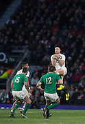 Twickenham. Great Britain.<br /> Mike BROWN, collects the hight ball during the RBS Six Nations Rugby, England vs Ireland at the RFU Twickenham Stadium. England.<br /> <br /> Saturday  27/02/2016. <br /> <br /> [Mandatory Credit; Peter Spurrier/Intersport-images]
