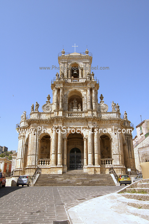 The Chiesa Madre, Mother Church, Palazzolo Acreide, on the Monti Iblei, Province of Syracuse, Sicily, Italy, The first document attesting its existence dates from 1215, when the church was dedicated to St. Nicholas. It was largely rebuilt and redecorated after the earthquake of 1693, with a Neo-classicist façade.