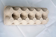 Empty cardboard egg tray for 12 eggs. made from recycled cardboard