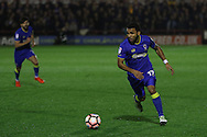 AFC Wimbledon striker Andy Barcham (17) during the The Emirates FA Cup 1st Round Replay match between AFC Wimbledon and Bury at the Cherry Red Records Stadium, Kingston, England on 15 November 2016. Photo by Stuart Butcher.