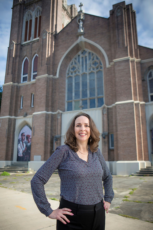 Valparaiso University alumnus Rebecca Otte at a worksite in New Orleans in October 2017. PHOTO BY CHRIS GRANGER
