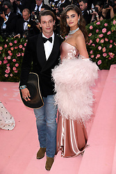 """Patrick Schwarzenegger and Taylor Hill at the 2019 Costume Institute Benefit Gala celebrating the opening of """"Camp: Notes on Fashion"""".<br />(The Metropolitan Museum of Art, NYC)"""
