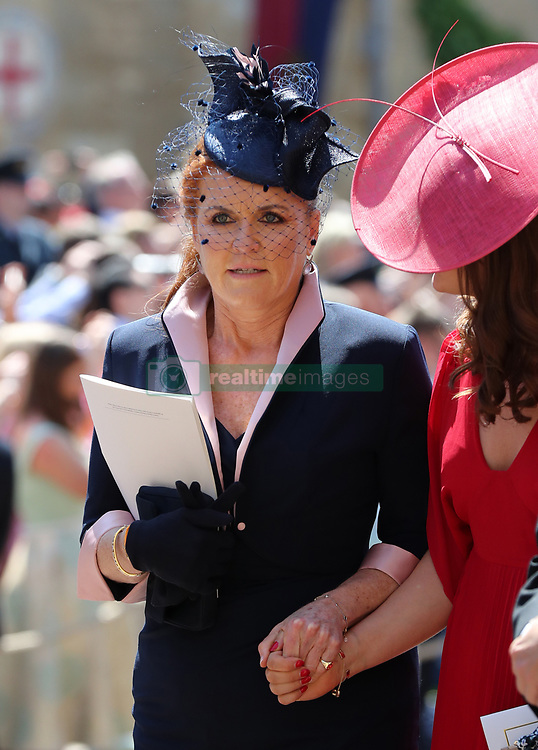 The Duchess of York leaves St George's Chapel at Windsor Castle after the wedding of Meghan Markle and Prince Harry.