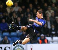 Photographer. Danny Martindale<br />Gillingham v Wimbledon.Nationwide Division 1. 15/11/2003.<br />Nicky Southall shots at goal