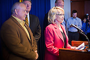09 MAY 2011 - PHOENIX, AZ: RUSSELL PEARCE, left, President of the Arizona State Senate, and JAN BREWER, Governor of Arizona during a press conference at the Arizona State Capitol in Phoenix Monday. Governor Jan Brewer, State Senate President Russell Pearce and Attorney General Tom Horne, all Republicans, held one press conference to announce that the state was suing to take its legal battle over SB1070, Arizona's tough anti-immigration law, past the US Court of Appeals and straight to the US Supreme Court. State Senator Steve Gallardo, a Democrat, held a press conference to announce that he was opposed to the Republican's legal actions and called on them to drop the suit altogether. Isolated shouting matches broke out between activists on both sides of the immigration issue during the press conferences.       Photo by Jack Kurtz