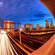 Motion blur of traffic from above 71 Highway running through downtown Kansas City, Missouri.