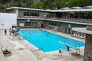 Radium Hot Springs swimming pool, in Kootenay National Park, British Columbia, Canada.