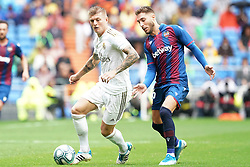 Real Madrid's Toni Kroos (l) and Levante UD's Ruben Rochina during La Liga Real Madrid v Levante UD football match at Santiago-Bernabeu stadium on September 14, 2019 in Madrid, Spain. Real won 3-2. Photo by Acero/AlterPhotos/ABACAPRESS.COM