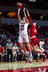NORMAL, IL - February 07:  Lexi Wallen takes a shot while defended by Mahri Petree during a college women's basketball game between the ISU Redbirds and the Braves of Bradley University February 07 2020 at Redbird Arena in Normal, IL. (Photo by Alan Look)