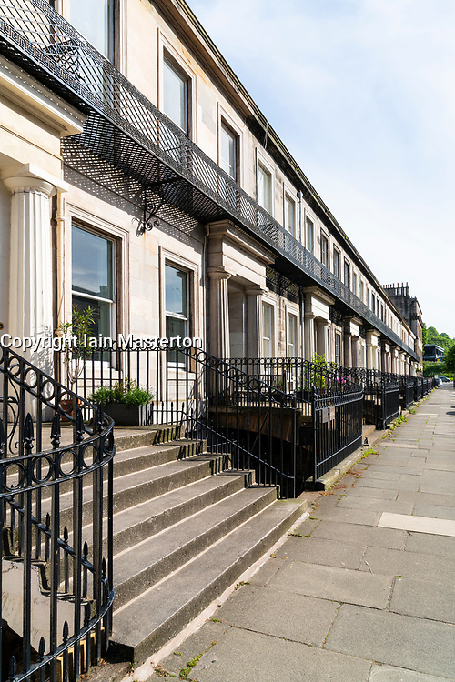 Terrace of  Georgian townhouses in Hillside district of Edinburgh, Scotland, UK