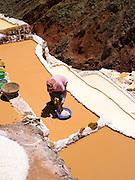 High-angle view of Salinas de Maras (Maras Saltworks), near Cusco, Peru.