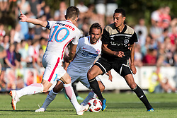 (L-R) Florin Tanase of Steaua Bucharest, Filipe de Andrade Texeira of Steaua Bucharest, Noussair Mazraoui of Ajax during the friendly match between Ajax Amsterdam and Steaua Bucharest on July 7, 2018 at Sportpark Achterveen in Hattem, The Netherlands