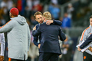 England Head Coach Gareth Southgate congratulates Netherlands Head Coach Ronald Koeman at full time during the UEFA Nations League semi-final match between Netherlands and England at Estadio D. Afonso Henriques, Guimaraes, Portugal on 6 June 2019.