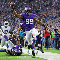 MINNEAPOLIS, MN - NOVEMBER 4: Danielle Hunter #99 of the Minnesota Vikings scores a touchdown after recovering a fumble in the fourth quarter of the game against the Detroit Lions at U.S. Bank Stadium on November 4, 2018 in Minneapolis, Minnesota. (Photo by Adam Bettcher/Getty Images) *** Local Caption *** Danielle Hunter
