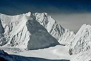 Everest West ridge (left), Lho La ( centre) with Nuptse behind, Khumbutse on right, from above Central Rongbuk Glacier, Tibet