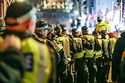 January 31, 2020, London, England, United Kingdom: British Riot Police are called in as Pro-Brexit supporters celebrate in London on Jan. 31, 2020 - as the UK leaves the European Union with 51. 9% of the UK population that voted to leave the EU in a referendum in June 2016. (Credit Image: © Vedat Xhymshiti/ZUMA Wire)