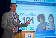 Houston ISD Chief Technology Information Officer Lenny Schad comments during a news conference on the district's Cyber Safety initiative at the High School for Law Enforcement and Criminal Justice, August 13, 2014.