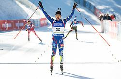 Jean Guillaume Beatrix (FRA) celebrates at finish line  during Men 15 km Mass Start at day 4 of IBU Biathlon World Cup 2015/16 Pokljuka, on December 20, 2015 in Rudno polje, Pokljuka, Slovenia. Photo by Vid Ponikvar / Sportida