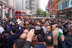 Kesnington, London, July 11th 2014. Thousands of Palestinians and their supporters demonstrate against the latest wave of Israeli retaliatory attacks on Palestinian targets and homes, where casualties are steadily mounting.