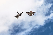 """Two German Air Force, Eurofighter Typhoon EF2000 a twin-engine, canard-delta wing, multirole fighter. Photographed at the  """"Blue-Flag"""" 2017, an international aerial training exercise hosted by the Israeli Air Force (IAF) at Ouvda airfield, Israel. November 2017"""
