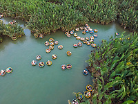 Aerial view of tourists at Coconut boats of Cam Thanh in Hoi An, Vietnam.