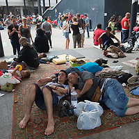 Illegal migrants stay in the transit zones in front of the main railway station Keleti in the hopes to leave for Germany in Budapest, Hungary on September 03, 2015. ATTILA VOLGYI