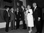 19/08/1988<br /> 08/19/1988<br /> 19 August 1988<br /> Opening of ROSC '88 at the Guinness Hop Store, Dublin. At the exhibition were (l-r): Harry Byrne,  Financial Director, Guinness Ireland; Patrick Murphy, ROSC Chairman; President Patrick Hillery who officially opened the exhibition and Mr David Kennedy CEO Aer Lingus.