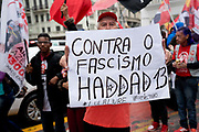 Workers Party / PT rally in central Sao Paulo, Fernando Haddad is the presidential candidate for the PT, taking the place of Lula who is facing charges for corruption during his previous presidency. There have been less political rallies in the 2018 election run in Brazil, this is in part because of a change in funding legislation for the political parties, meaning less money is available for campaigning.