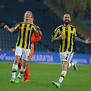 Fenerbahce's Dirk Kuyt (L) celebrate his goal with team mate  during their Turkish superleague soccer match Fenerbahce between Istanbul Basaksehir at the Sukru Saracaoglu stadium in Istanbul Turkey on Saturday 03 January 2015. Photo by Aykut AKICI/TURKPIX