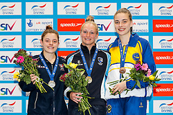 Podium for the Womens 10m Platform Final. L-R Silver medallist Georgia Ward from Dive London Aquatics Club, Gold medallist Sarah Barrow from Plymouth Diving and Bronze medallist Ruby Bower from City of Leeds Diving Club - Mandatory byline: Rogan Thomson/JMP - 11/06/2016 - DIVING - Ponds Forge - Sheffield, England - British Diving Championships 2016 Day 2.