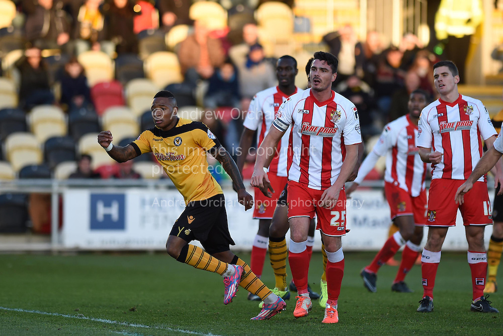 Newport county's Aaron O'Connor (l) celebrates after he scores his teams 1st goal with a header. Skybet football league two match, Newport county v Stevenage at Rodney Parade in Newport, South Wales on Saturday 13th December 2014<br /> pic by Andrew Orchard, Andrew Orchard sports photography.