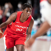 TOKYO, JAPAN August 8: Evelyn Mawuli #30 of Japan in action during the Japan V USA basketball final for women at the Saitama Super Arena during the Tokyo 2020 Summer Olympic Games on August 8, 2021 in Tokyo, Japan. (Photo by Tim Clayton/Corbis via Getty Images)