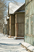 Local wooden architecture in Komsomolsk-on-Amur.Siberia, Russia