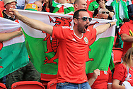 a Wales fan shows his support. UEFA Euro 2016, last 16 , Wales v Northern Ireland at the Parc des Princes in Paris, France on Saturday 25th June 2016, pic by  Andrew Orchard, Andrew Orchard sports photography.